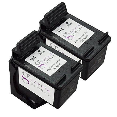 Sophia Global Remanufactured Ink Cartridge Replacement for HP 94 (2 Black)