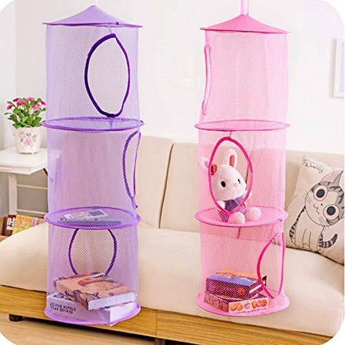 Goldenvalueable Hanging Mesh Space Saver Bags Organizer 3 Compartments Toy Storage Basket for Kids Room organization mesh hanging bag 2 Pcs Set , Pink and Purple