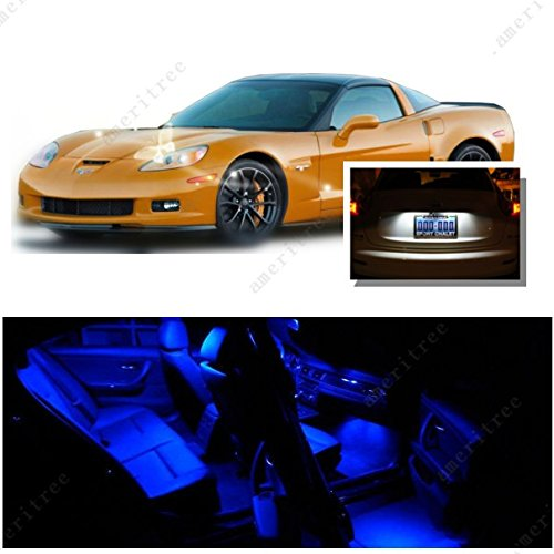 ights Interior Package + White LED License Plate Kit for Chevy Corvette 2005-2013 (6 Pieces) ()