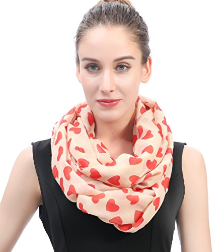 03d46814a Lina & Lily Hearts Print Women's Infinity Scarf Valentine's Mother's Day  Gift Ideas