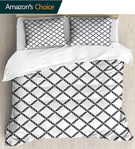 - Geometric Full Queen Duvet Cover Sets,Checkered Rope Pattern Maritime Themed Fish Net Shape Nautical Inspirations Kids Bedding-Does Not Shrink or Wrinkle 87
