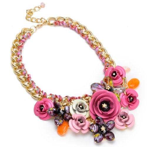Fashion-Gold-Tone-Chain-Crystal-Pink-Rose-Flower-Bib-Statement-Necklace