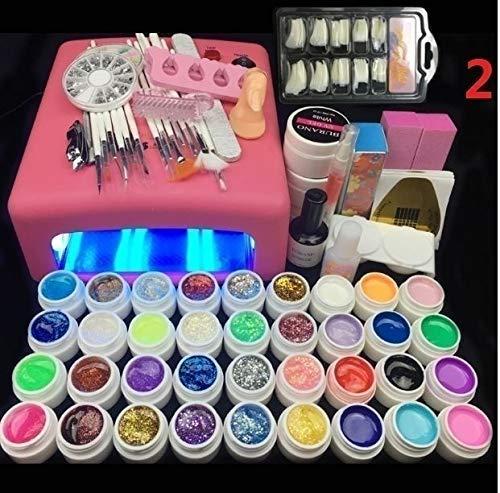 Lamp and 36 Colors Gel Nail Art Nail Tools Set Nail Polish Nail Gel Building Kit set a tool(Nail set and lamp) (Nail Art Gel Set)