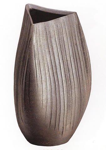信楽焼陶器 花器 黒銀彩ストライプ花入 15号 高さ45.0cm 7026-02 B00CUWSOVI