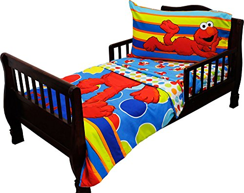 Sesame Street Elmo 4 - Piece Toddler Bedding Set (Elmo Sheets Toddler)