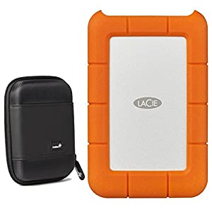 LaCie Rugged 2TB External Hard Drive - USB 3.0, USB-C (STFR2000400) With Ivation Compact Portable Hard Drive Case (Small)