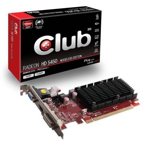 CLUB3D CGAX-5456 Radeon HD5450 2GB GDDR3 Grafikkarte Grafikkarten Radeon HD5450, 2 GB, GDDR3, 64 Bit, 2560 x 1600 Pixel, PCI Express 2.1