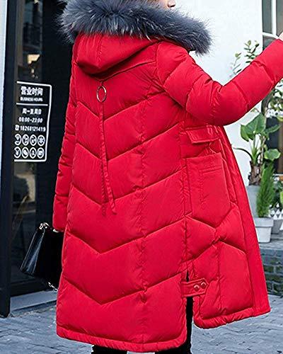 Taille Parka L Poches Foncé En Long Avec Femmes Pour Fourrure Vert Et Rouge À Cargo Oudan Manteau coloré Col Matelassé Fausse TzYSq