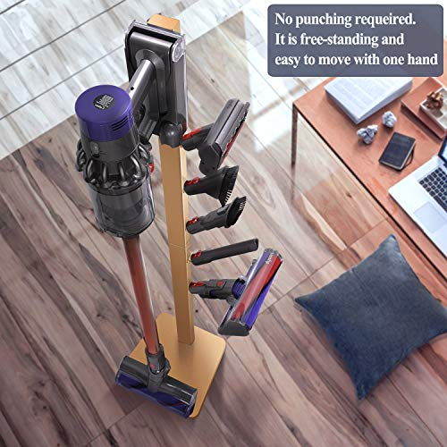 XIGOO Storage-Stand-Docking-Station-Holder Compatible with Dyson V11 V10 V8 V7 Cordless Vacuum Cleaners & Accessories, Stable Metal Organizer Rack, Brushed Gold