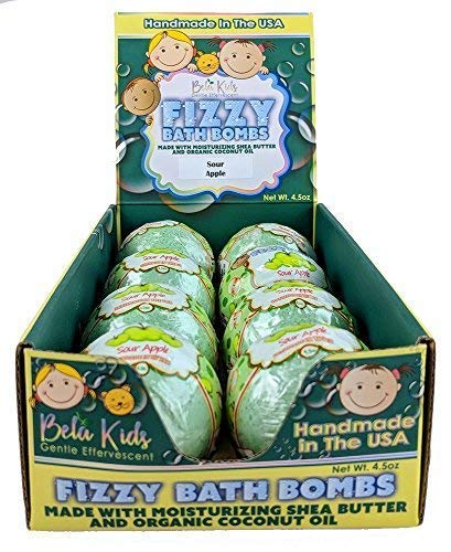Bela Kids Fizzy Fun Bath Bombs Sour Apple Scented, USA Made with Organic Coconut Oil, Moisturizing Shea Butter, Great Holiday Gift Set for Kids 4.5oz. Each - 8 Pack