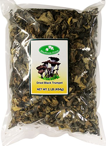 Trumpet Mushrooms - Mushroom House Dried Mushrooms, Black Trumpet, 1 Pound