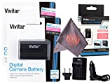 2 Pack Vivitar NP-FM500H Ultra High Capacity Rechargeable 1800mAh Li-ion Batteries + AC/DC Vivitar Rapid Travel Charger + Microfiber Lens Cleaning Cloth Sony Alpha Cameras (Sony NP-FM500H Replacement)