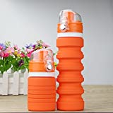 Collapsible Sports Travel Water Bottle, BPA Free (Orange)