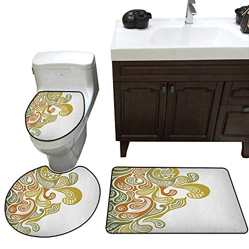 Earth Tones Bath Toilet mat Set Classical Scroll Pattern with a Modern Approach Swirled Leaf Figures Toilet Rug and mat Set Khaki Green Cinnamon ()