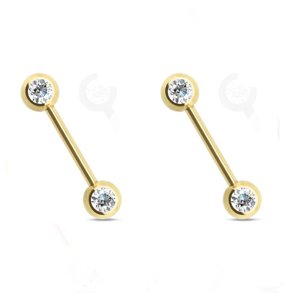 Pair of 14 Gauge 9/16 Inch 316L Double CZ Gold Titanium IP Over 316L Stainless Steel Nipple Barbell F95 C4-MV8M-IHBZ