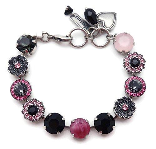 Mariana Peppermint Swarovski Crystal Silvertone Bracelet Pink Black Mix Sophia Mosaic 143