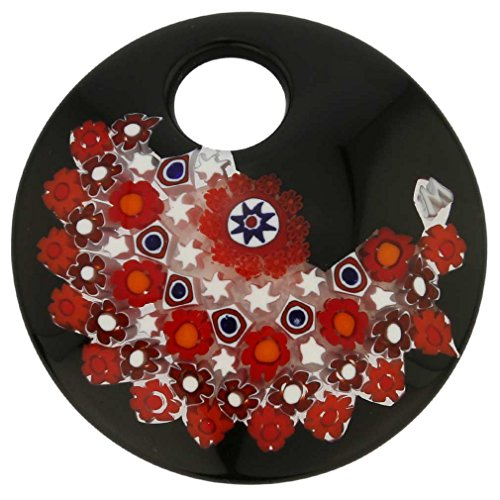 GlassOfVenice Murano Glass Black and Red Millefiori Pendant - Round