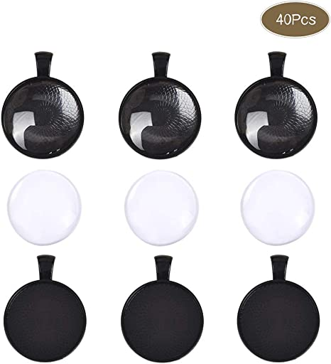10 Sets Gun Black Pendant KIT 25mm Settings Blank and Clear 25mm Glass Cabochons