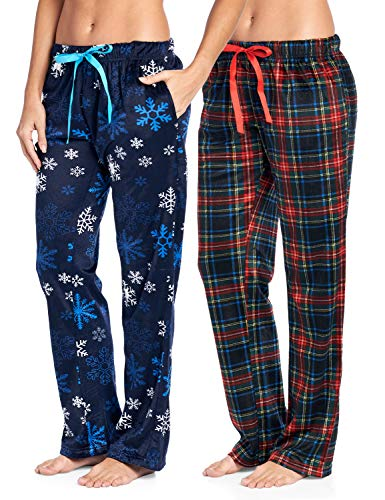 Ashford & Brooks Women's Plush Mink Fleece Pajama Sleep Pants 2 Pack - Set 3 - Frozen Snowflake/Plaid - 2X-Large