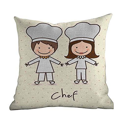 Matt Flowe Home Custom Pillowcase,Kids,Chef Hat and Uniform Vintage Style Design with Retro Polka Dots Kids Theme,Pastel Blue Cream,Apply to Travel and naps22 x22
