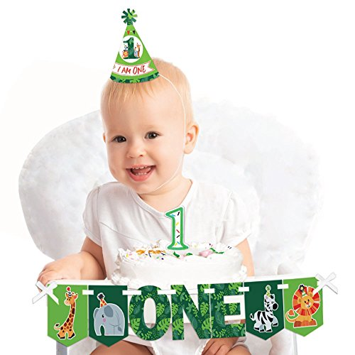 Big Dot of Happiness Jungle Party Animals 1st Birthday - First Birthday Girl or Boy Smash Cake Decorating Kit - Safari Zoo Animal High Chair Decorations for $<!--$14.99-->