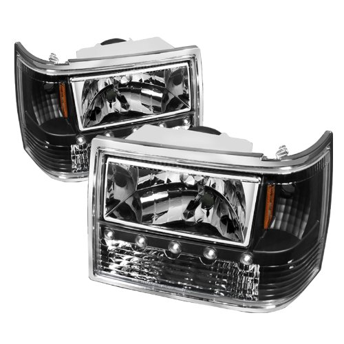 Jeep Cherokee Crystal - Jeep Grand Cherokee 1PC Crystal Headlights Black Housing With Clear Lens