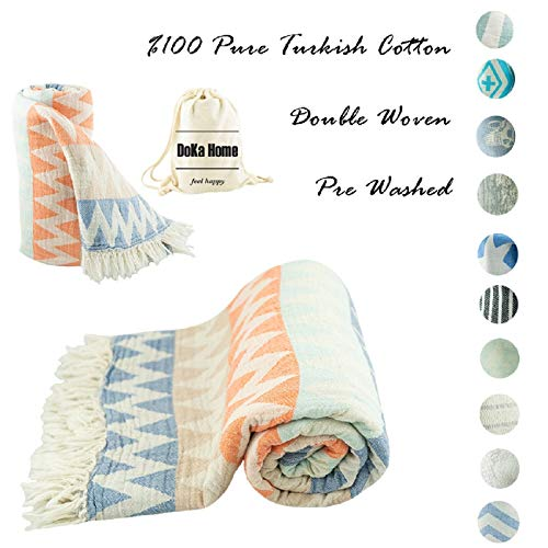 DoKa Home Turkish Towel – Full Cotton Peshtemal – Turkish Bath Towel 39×70 inches – Pre Washed, More Softly, Beach, Bath, Spa, Hammam, Super Soft Towels (Gypsy Design Blue Brown Orange Colors)
