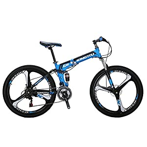 Kingttu G6 Mountain Bike 26 Inches 3 Spoke Wheels Dual Suspension Folding Bike 21 Speed MTB Blue 2018