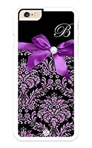 iZERCASE iPhone 6 PLUS Case Monogram Personalized Purple Ribbon Pattern RUBBER CASE - Fits iPhone 6 PLUS T-Mobile, AT&T, Sprint, Verizon and International (White)