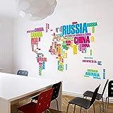 StylishWalls Alphabet Style World Map Wall Stickers (PVC, Large)