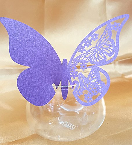 50pcs Butterfly Wedding Party Table Number Name Paper Place Cards Wine Glass Cup Decoration Wall Decals Sticker for Wedding Party Favor (Purple)