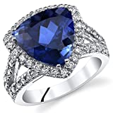 6.00 Carats Trillion Cut Created Blue Sapphire Cocktail Ring Sterling Silver Size 5