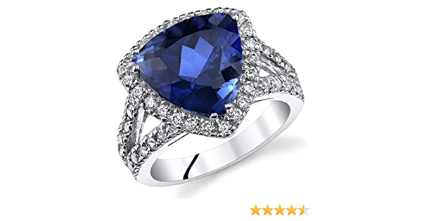 f650fee23e7d6 6.00 Carats Trillion Cut Created Blue Sapphire Cocktail Ring Sterling  Silver Sizes 5 to 9