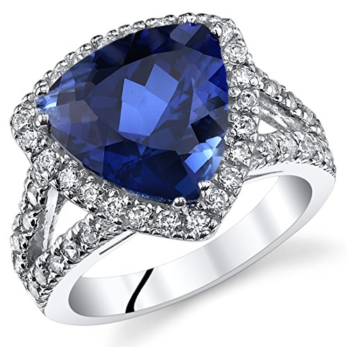 6.00 Carats Trillion Cut Created Blue Sapphire Cocktail Ring Sterling Silver Size 6