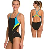 Jasmine Ladies Swimsuit, Black/Light Blue,36