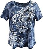 Women's Plus-Size Tie Dye Floral Rhinestone Design Fashion Blouse Tee Shirt Top Grey Blue 2X G160.48L