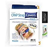 cpap cap - CPAP Strap Cover, Fleece Fabric Comfort Cheek Pad w/ Guide Wire by RespLabs | Full Face & Nasal ResMed, Phillips Respironics Masks + Cleaner Wipe & Chap (4 Pack)