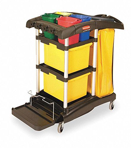 Microfiber Cart Janitor (Rubbermaid FG9T7400BLA HYGEN Microfiber High Capacity Janitor Cart with Color Coded Pails)