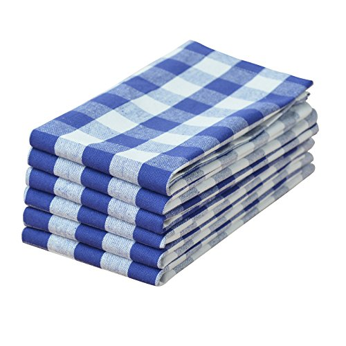 VEEYOO Set of 6 Oversized 20 x 20 inch (51 x 51 cm) 100% Cotton Napkin Gingham for Dinner Everyday Use, Navy & White Check (White Dinner Napkins And Blue)