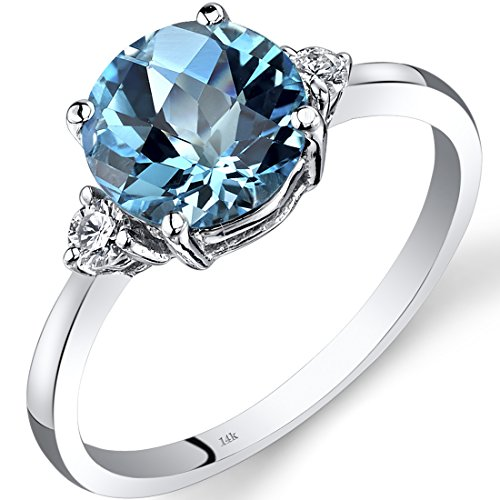 Peora 14K White Gold Swiss Blue Topaz Diamond Ring 2.25 Carat Round Cut