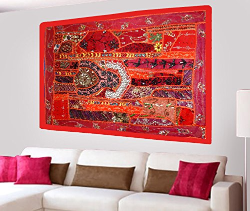 Indian Home Decor Antique Design Wall Hanging Tapestry with Heavy Beaded Embroidery, Zari, Sequins, Old Sari Patchwork - 24 X 36 Inches