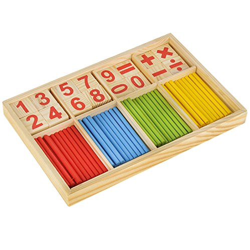 OFKPO Baby Mathematical Educational Toy Math Intelligence Stick Wooden Number Counting Sticks for Toddlers Kids Children