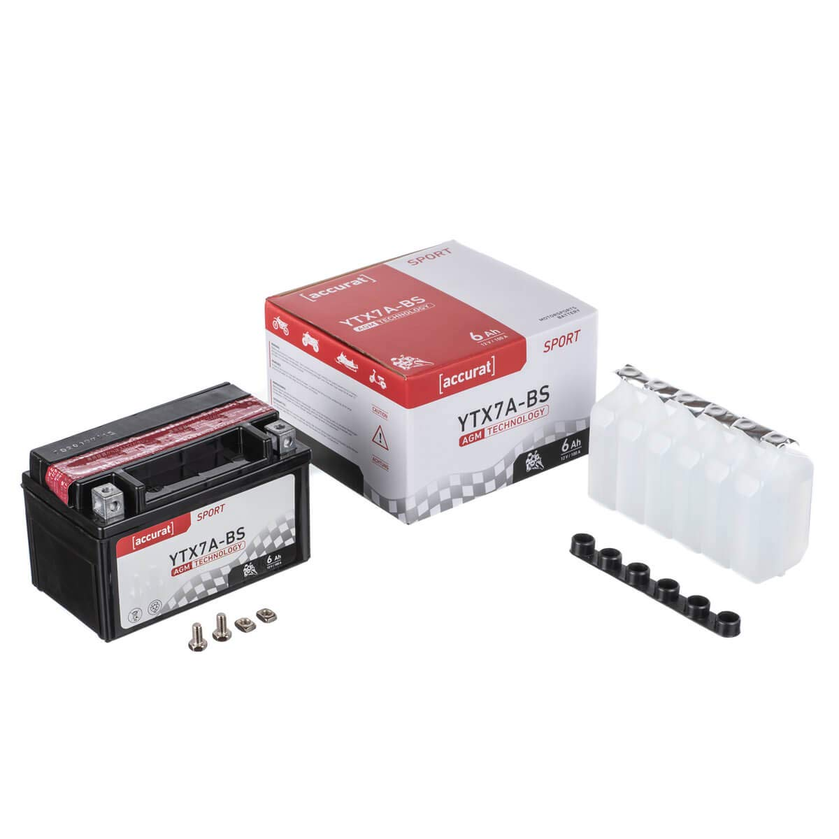Accurat Motorradbatterie YT7B-BS 7Ah 85A 12V AGM Starterbatterie in Erstausr/üsterqualit/ät r/üttelfest leistungsstark inkl S/äurepack wartungsfrei