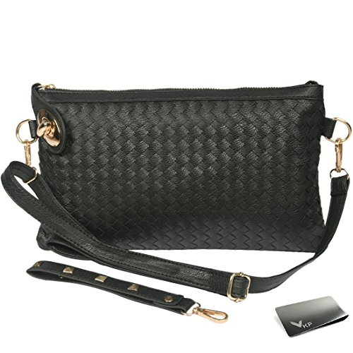 Missy K Large Wristlet Clutch Purse, with Detachable Straps + kilofly Money (Black Leatherette Money Clip)
