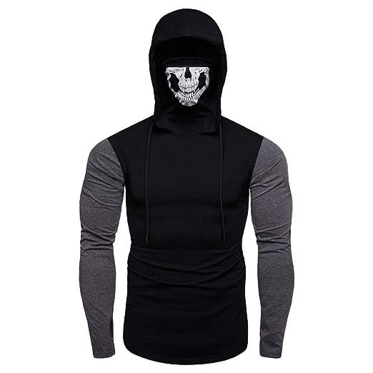 81ed4b21a Men Blouse Teen Boy Mask Skull Splicing Jacket Shirt Casual Sweatshirt  Hoodies at Amazon Men's Clothing store: