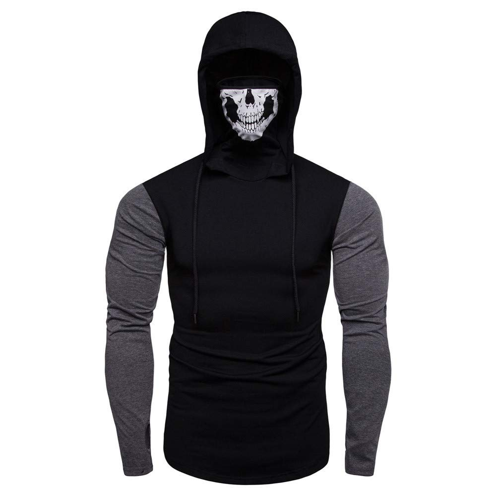 Mens Hoodie Stylish Mask Skull Design Solid Drawstring Sweatshirt Coat by Balakie(Black 2,M)