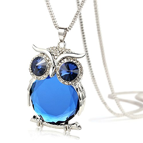 The Night Guardians Long Sweater Chain Owl Shape Austrian Crystal Pendant Necklace for Woman (Buy Black Swan Costume)