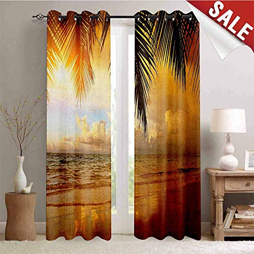 Hengshu Ocean Room Darkening Wide Curtains Sunset on The Beach of Caribbean Sea Waves Coast with Palm Tree Decor Curtains by W108 x L108 Inch Yellow Dark Orange Baby Blue