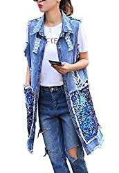 Sleeveless Denim Jacket With Sequins
