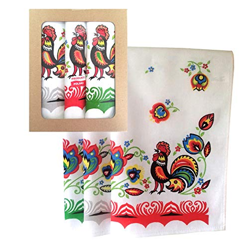 Polish Folk Art Set of 3 Kitchen Towels in Box (Lowicz Roosters)